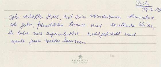 Bewertung im Wartburghotel in Eisenach mit persönlicher Widmung