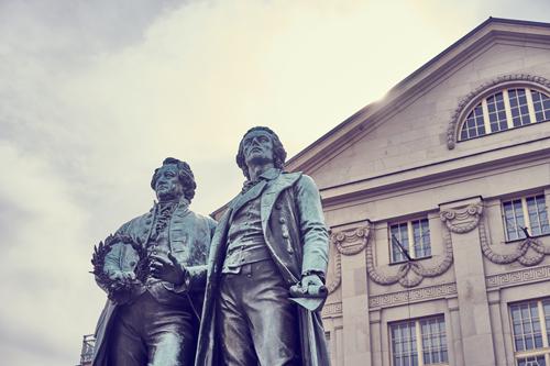 Goethe Schiller Statue in Weimar