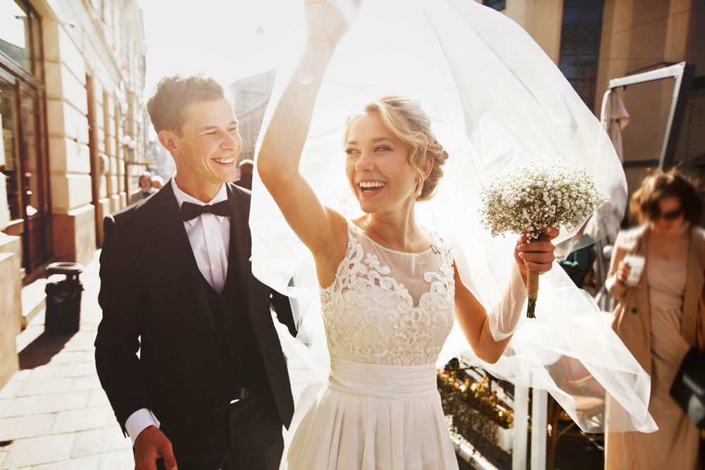 Hochzeitspaar nach der Trauung